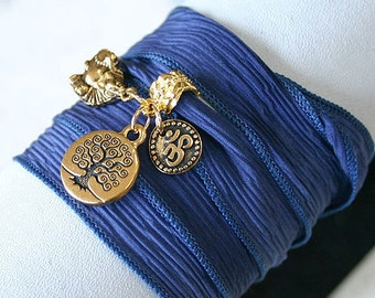 Hand Dyed Silk Ribbon Wrap Bracelet Jeans Gold Tree of Life, Om, Ohm, Buddha Yoga Jewelry