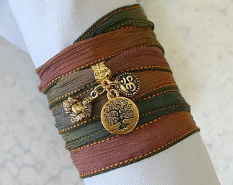 Hand Dyed Silk Ribbon Wrap Bracelet Spooky Gold Tree of Life, Om, Ohm, Buddha Yoga Jewelry