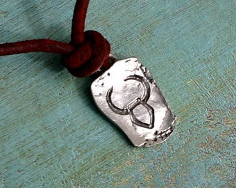 Leather Surfer Necklace With Ancient Zodiac TAURUS - Distresed Cord