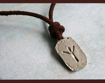 Algiz Rune Protection Higher Self Leather Surfer Necklace With Ancient Runes