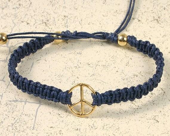 Karma Friendship Bracelet Gold Peace On Navy Cotton