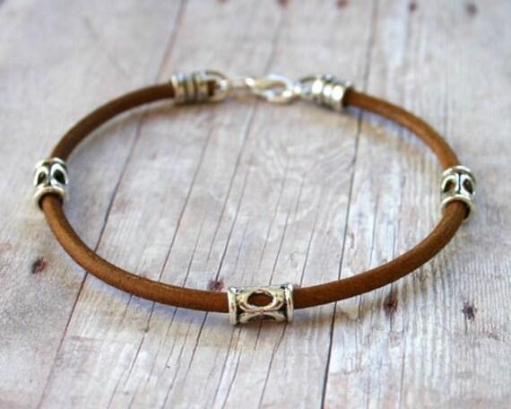 Men's Bracelet 3mm Light Brown Leather Silver Tube Beads
