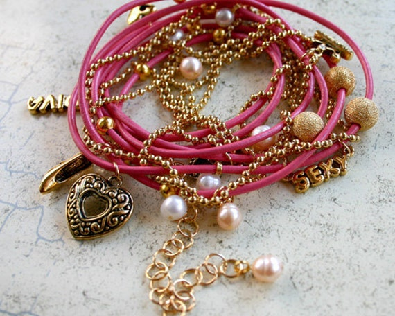 """Hot Pink Leather and Chain """"Diva"""" Wrap Bracelet"""