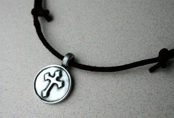 Leather Surfer Necklace With Big Cross Distresed Cord