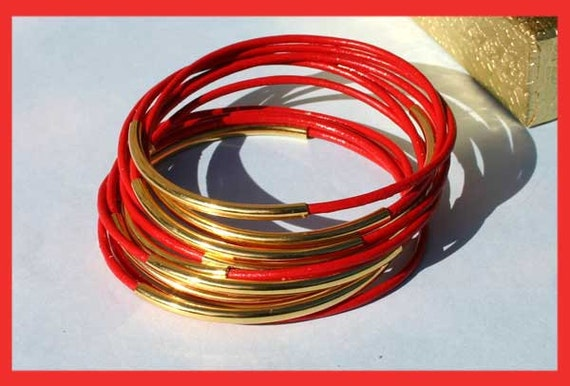 FREE shipping 10 Red Leather Bangles with Gold Tubes