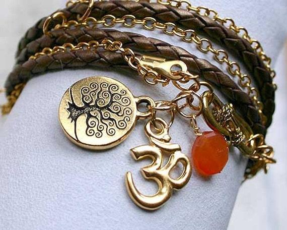 CHARMS Bronze Leather Chain Bracelet Sacral Hara Chakra Carnelian Tree of Life Om Yoga Protection