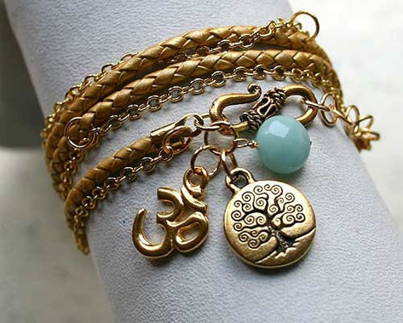 Gold Leather And Chain Bracelet Throat Chakra Amazonite Tree of Life Om Yoga Wrap