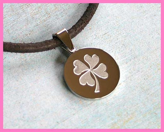 SALE St Patrick's Day Lucky Leather Necklace With 4-Leaf Clover Pendant Stainless Steel