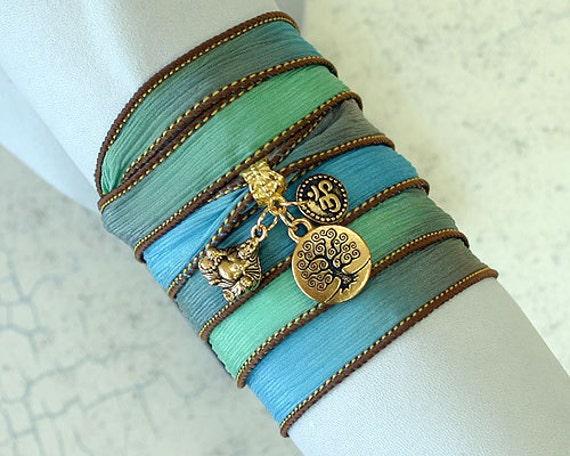 Hand Dyed Silk Ribbon Wrap Bracelet Sand And Sea Gold Tree of Life, Om, Ohm, Buddha Yoga Jewelry