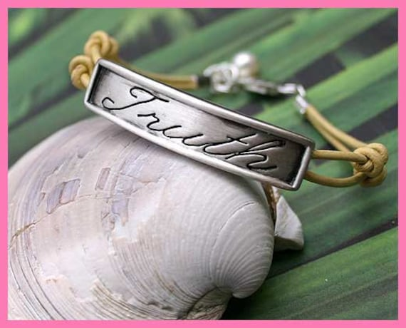 SALE Karma Expression Bracelet Double Leather Strap With Truth Plate