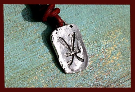Leather Surfer Necklace With Ancient Zodiac PISCES - Distresed Cord