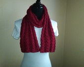 Simply Autumn Red - a handknit scarf