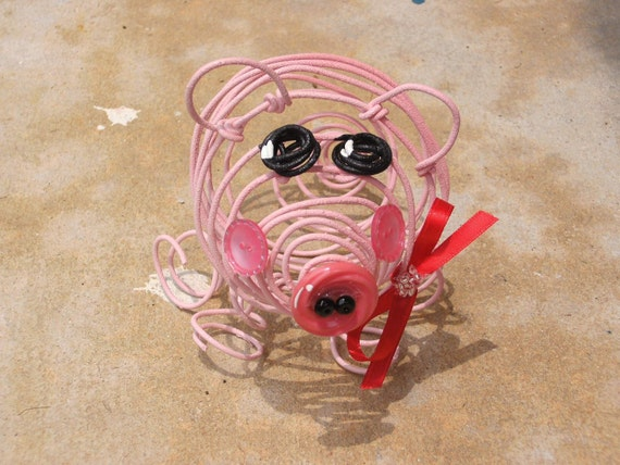Miss Penelope Pigstop A Free-formed Wire Art Sculpture