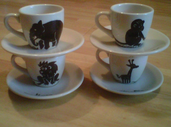Concrete Jungle - an up-cycled vintage espresso cup and saucer set