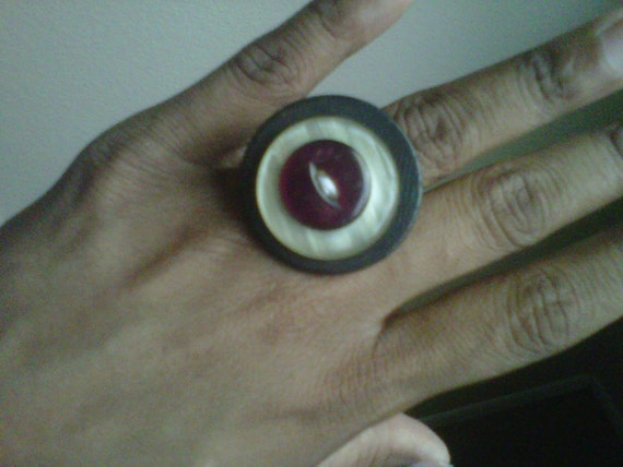 Plum Majesty - A Vintage Button Ring