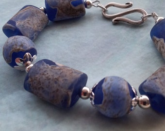 Sterling Silver Bracelet with Blue Glass Lampwork Beads from Clare Scott.