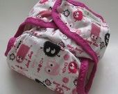 Limited Edition Pink Ooga Booga One Size Pocket Diaper with Organic Bamboo Velour Inner