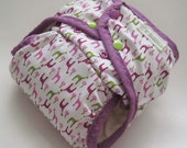 Bubble Gum Giraffe, pink and green, One Size Pocket Diaper with Organic Bamboo Velour Inner