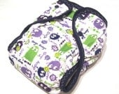 One Size Lime and Purple Ooga Booga PUL Printed Pocket Diaper with Organic Bamboo Velour Inner