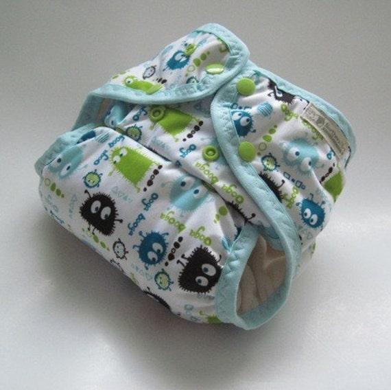 One Size Ooga Booga on White Pocket Diaper with Bamboo Velour Inner