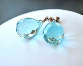 Light Aqua Faceted Teardrop Earrings