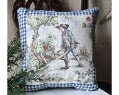 Blue and White Checked Pillow with Toile Inset  Gardening Man