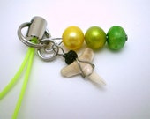 Little Shark Tooth Cell Phone Charm or Zipper Pull - Green, Yellow