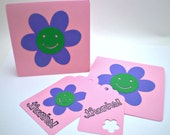 Happy Flower Cards & Tags Set - Light Pink, Purple, Green - HANDMADE by the KIDS