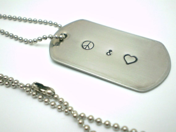 Handstamped Peace & Love Stainless Steel Dog Tag Necklace - Handmade by the KIDS