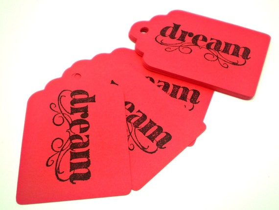CLEARANCE Red Dream Tags - Set of 15 - HANDMADE by the KIDS