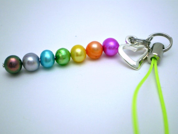 Small Heart Cell Charm, Purse Charm, Zipper Pull - Rainbow Pearls