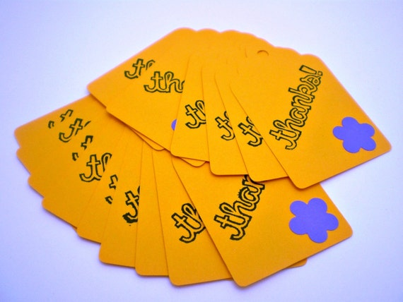 Thanks Tags in Bright Yellow - set of 15 - HANDMADE by the KIDS