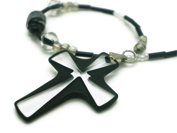 Crystal Cross Car Charm in Black with Black/Silver Chain for Rear View Mirror