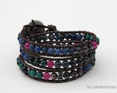 Leather and Semi-Precious Stones Wrap Bracelet by sarahberries, 120004WB