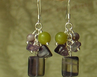 Amethyst, Jade, Flourite Earrings, 100029AF