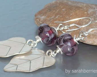 Hill Tribe Sterling Sliver, Lampwork Glass Earrings 100076SL by sarahberries