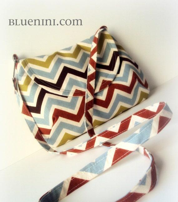 Reserved for Nicole - The Petite Cross Body Bag - Messenger Bag with Pocket for Nook, Kindle, eReader or Tablet - Multicolor Chevron
