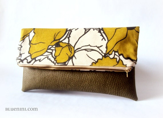 Preorder Listing - Hybrid Clutch - Fold Over Zippered Clutch - Summer Fashion - Citrine Flower with Vegan Olive Leather