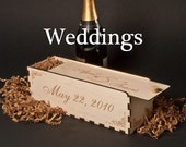 Wedding WOOD WINE GIFT Box with Laser Engraved Personalization