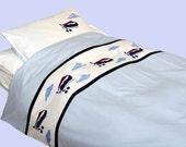 Vintage Airplanes Applique bedding set  - Vintage Airplanes-twin-duvet cover w/ pillow case