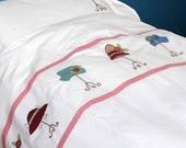 Applique bedding set for kids-Vintage hats-duvet cover w/ pillow case