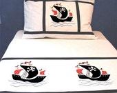 Applique bedding set for kids - Pirates -twin-duvet cover w/ pillow case