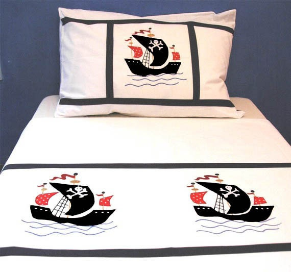Applique bedding set for kids - Pirates -twin-duvet cover w/ pillow case