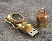 Steampunk USB flash drive with glowing quartz crystal. Copper, brass and glass. Waterproof. 16 GIG