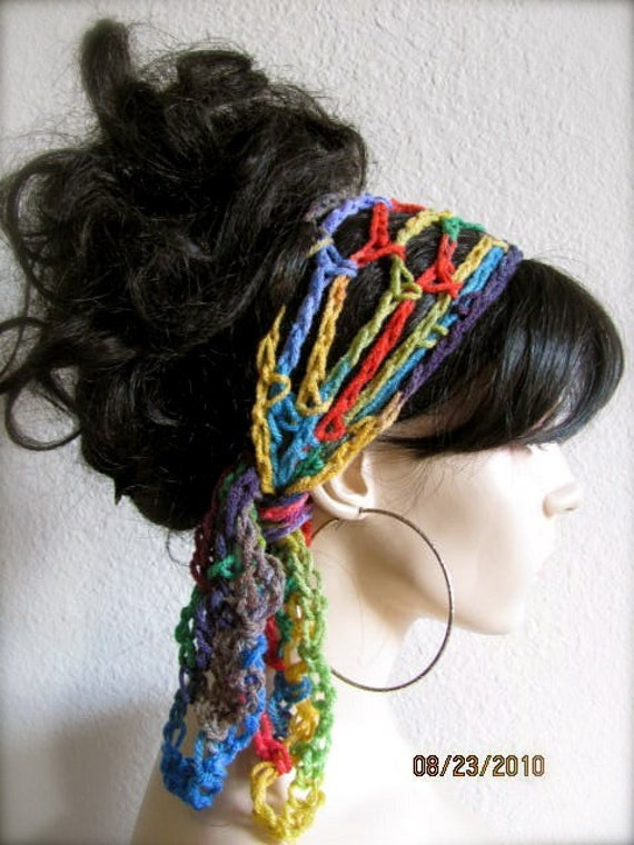 Crochet Hair Wrap : to BUY 2 hair scarfs GET 1 hair scarf FREE - Crochet Gypsy Style Hair ...