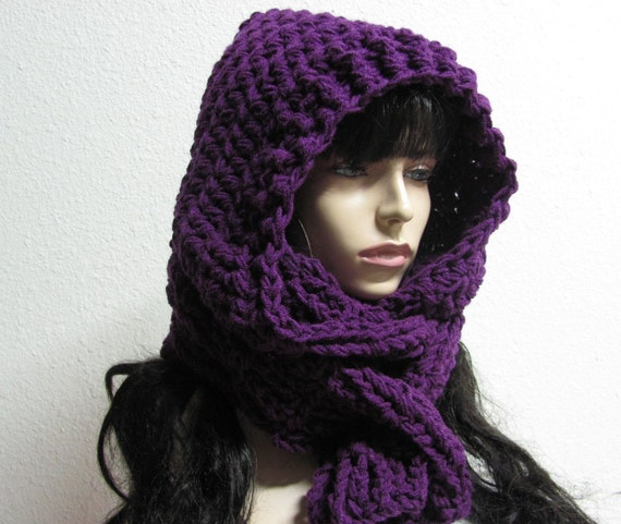 Free Crochet Pattern For Infinity Scarf With Hood : Items similar to Dark Orchid Aspen Scoodie Hand Crochet ...
