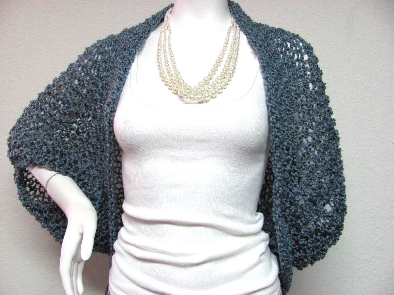 Free crochet pattern shrug plus size dancox for denim blue knit crochet sweater shrug size large plus size 1x free crochet pattern bankloansurffo Gallery