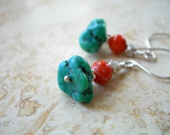 Earrings Turquoise and Fire Agate Beads Sterling Silver