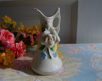 Small Bud Vase Rose Floral Ceramic Vintage