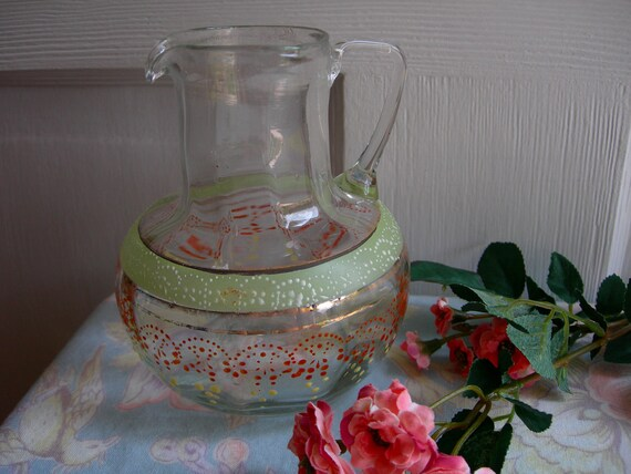 Glass Pitcher Hand Blown Vintage